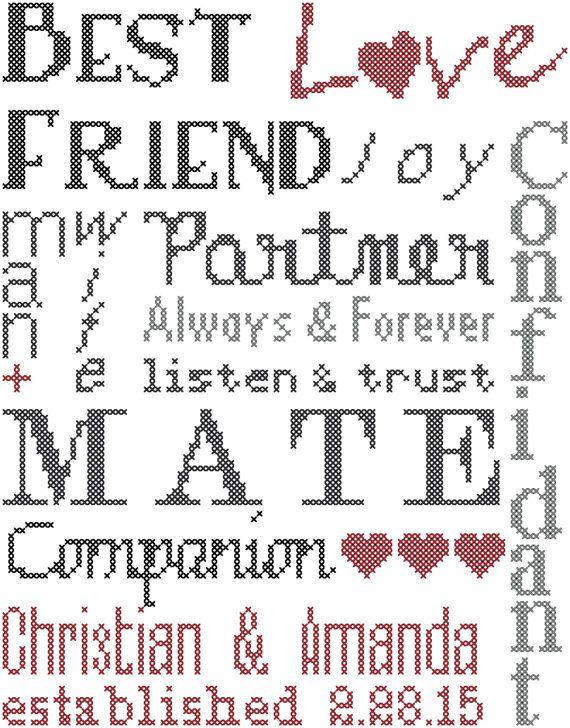 Wedding Cross Stitch Pattern/Typography Cross Stitch Pattern ...
