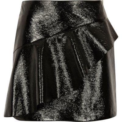 a89235b5e River Island Womens Black vinyl frill front mini skirt | Products ...