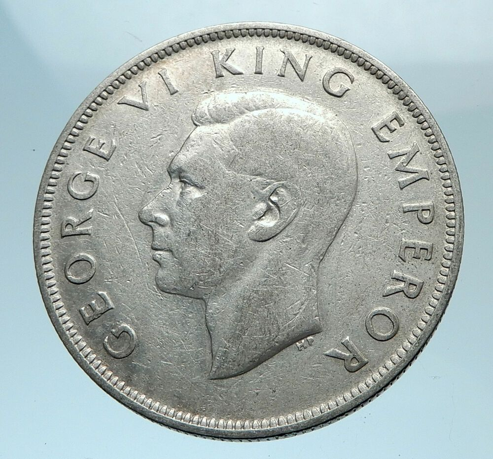 1942 New Zealand Under Uk King George Vi Silver 1 2 Crown Coin Shield I78148 King George George Vi Coins