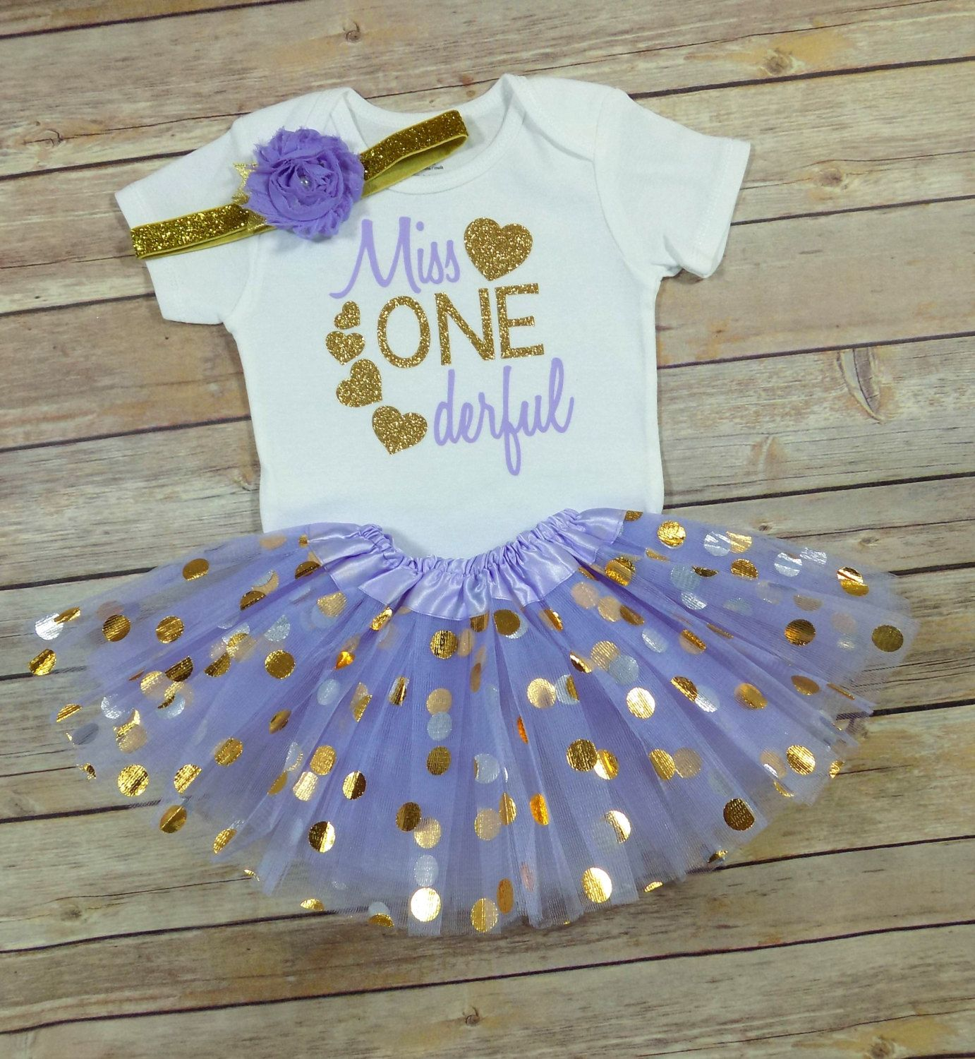 First birthday outfit,Gold One Bodysuit,Lavender and Gold tutu outfit,gold one