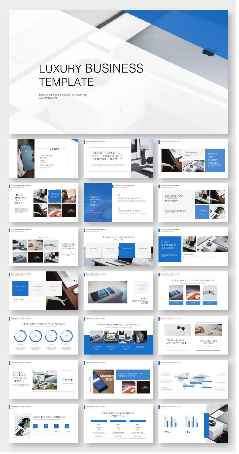 Blue Business Annual Report Powerpoint Template