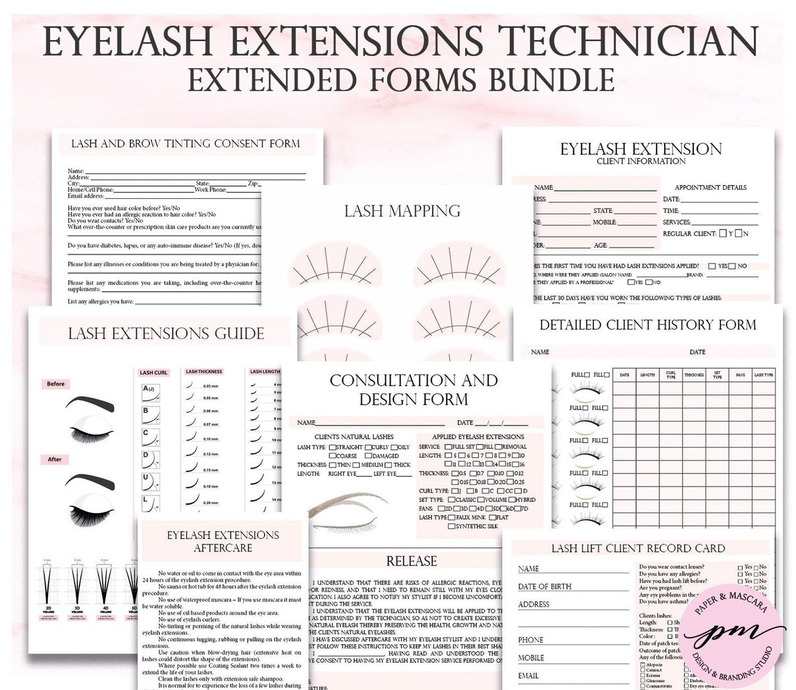 Pink Eyelash Extensions Technician Forms Printable Client