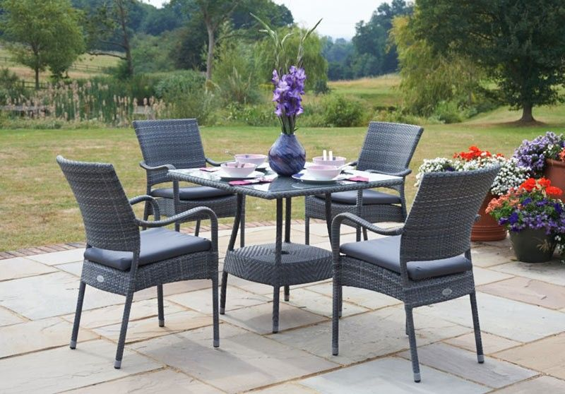 Bridgman Garden Furniture 90cm windsor square table with 4 stacking armchairs grey rattan 90cm windsor square table with 4 stacking armchairs grey rattan garden furniture garden workwithnaturefo