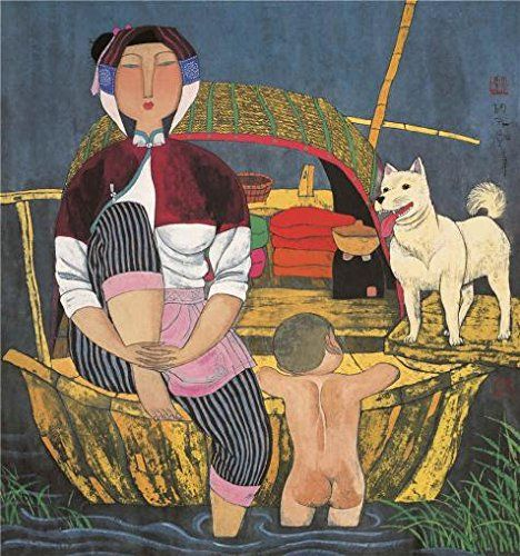 Oil Painting 'Hu Yongkai,On The Boat,21th Century' Printing On High Quality…
