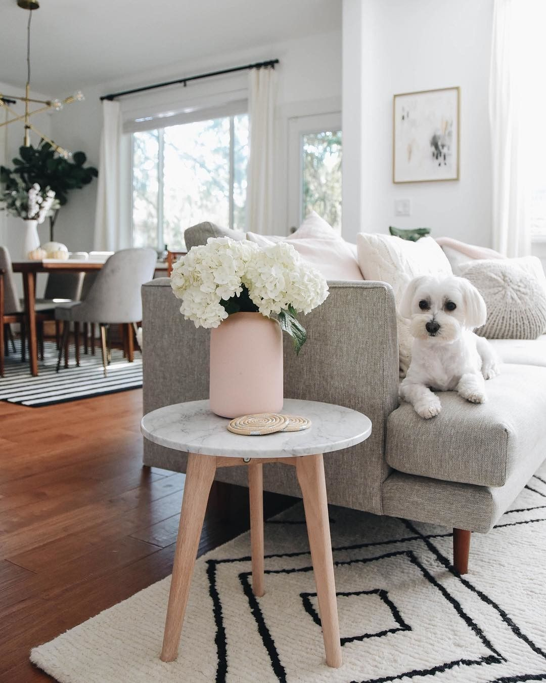 Round marble end table with solid oak legs article mara modern