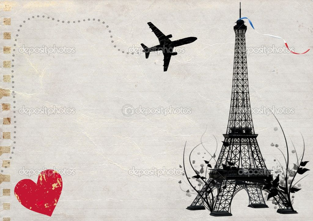 Eiffel Tower with airplane... but with different colors.