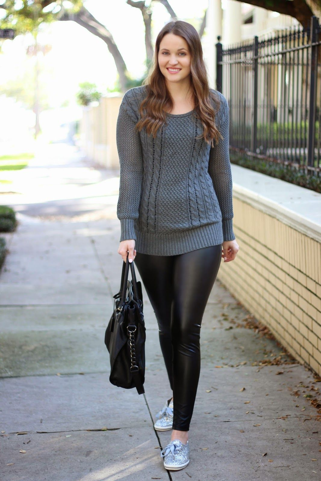 Kelly Elizabeth Style: Cable Knit and Faux Leather - grey cable ...