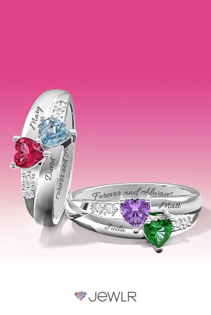 68f485d724 Personalize the perfect promise ring in silver, white, yellow or rose gold  with sparkling heart birthstones to represent your loved ones.