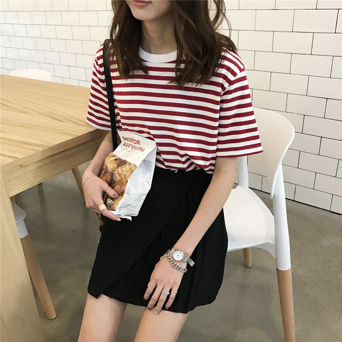 03cc066f7 Click to Buy << Mihoshop Ulzzang Korean Korea Women Fashion Clothing chic  brand loose all-match Striped Shirt Short Sleeved T-shirt girl #Affiliate
