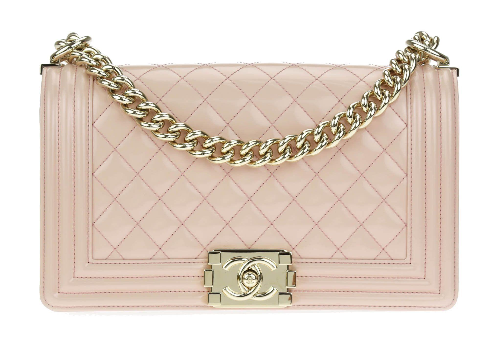Chanel Light Pink Patent Leather Medium Boy Bag | Patent leather ...
