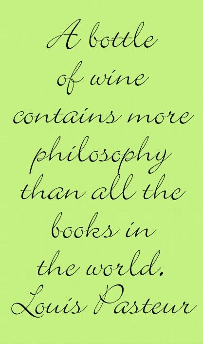 A bottle of wine contains more philosophy than all the books in the world - Louis Pasteur