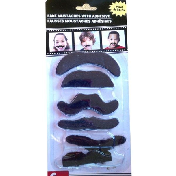 Fake 6 Mustaches Moustache with Adhesive Balli Gifts Halloween