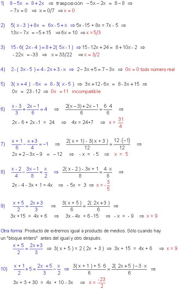 Ejercicios Resueltos De Ecuaciones De Primer Grado Educacion Matematicas Potencias Matematicas Matematicas Universitarias