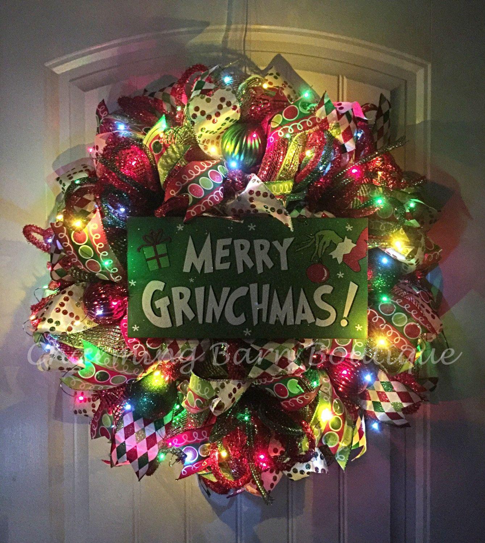 Christmas Wreath, Light Up Christmas Wreath, Grinch Wreath, Merry Grinchmas, Holiday Wreath, Grinch Decor, Christmas Decor, The Grinch by CharmingBarnBoutique on Etsy