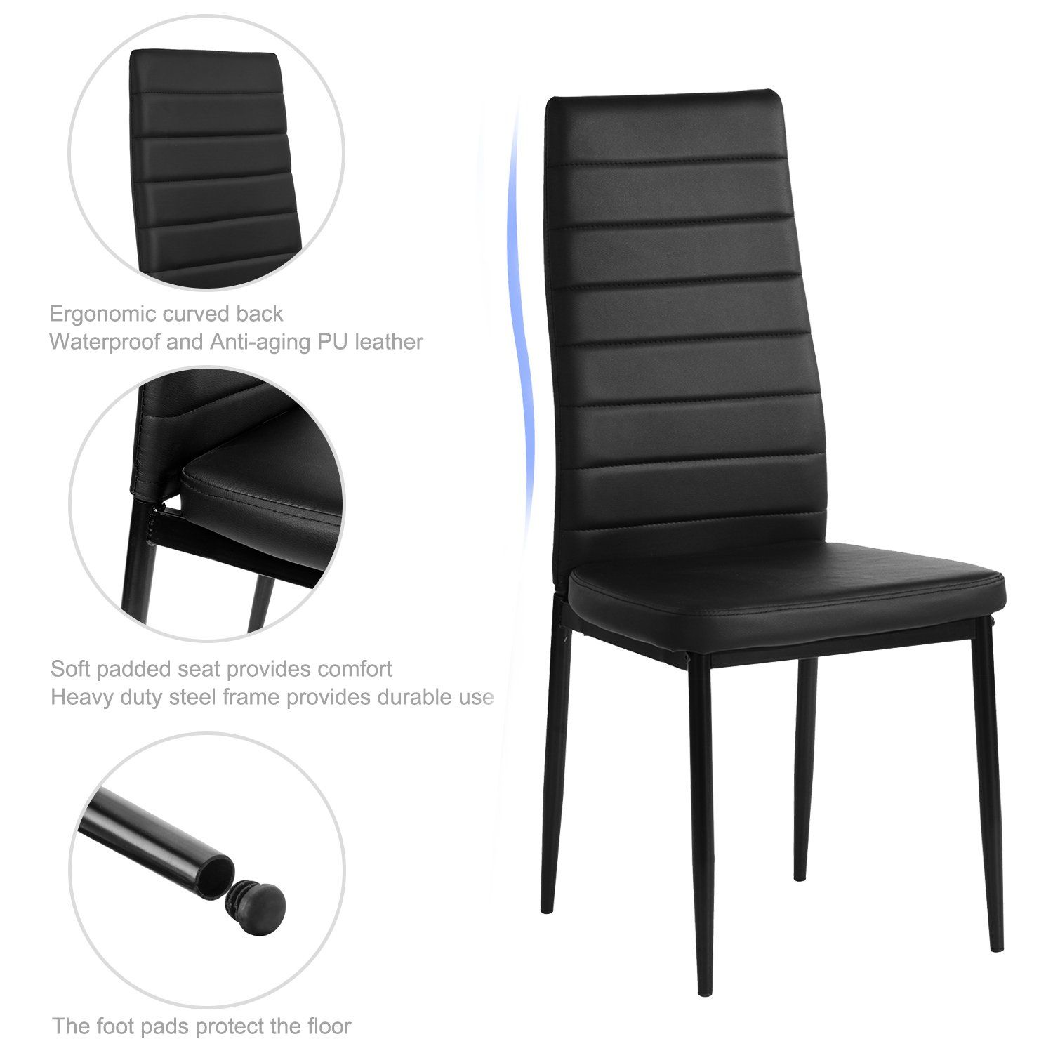 Aingoo Kitchen Chairs Set Of 4 Dining Chair Black Steel Frame High