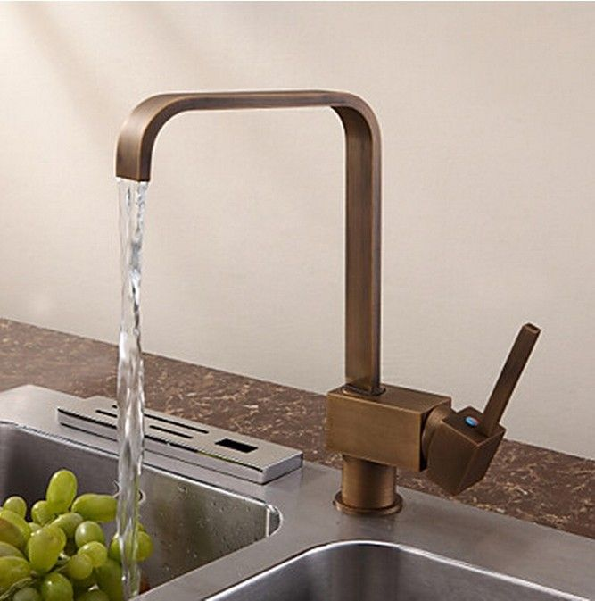 Antique Inspired Solid Brass Kitchen Faucet Antique Brass Finish ...