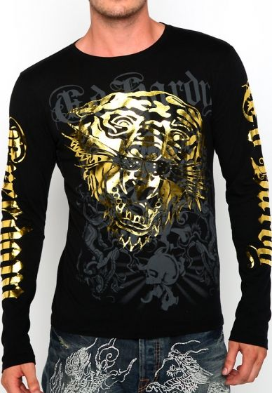 ae434e0c31616 black+and+gold+tiger+t+shirt | tiger gold and black specialty tee ED Hardy  men long-sleeves Shirts Angel needs this shirt