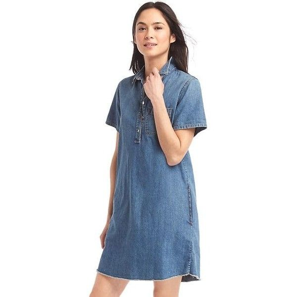 3cca797deeb Gap Women Denim Popover Shirtdress ( 70) ❤ liked on Polyvore featuring  dresses