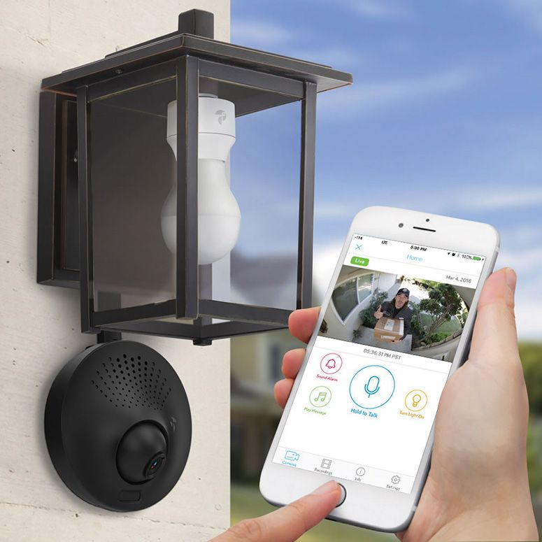 Light socket powered wi fi security camera pinterest garage these innovative outdoor wi fi security cameras only need access to a porch or garage light to power them up no wiring required aloadofball Images