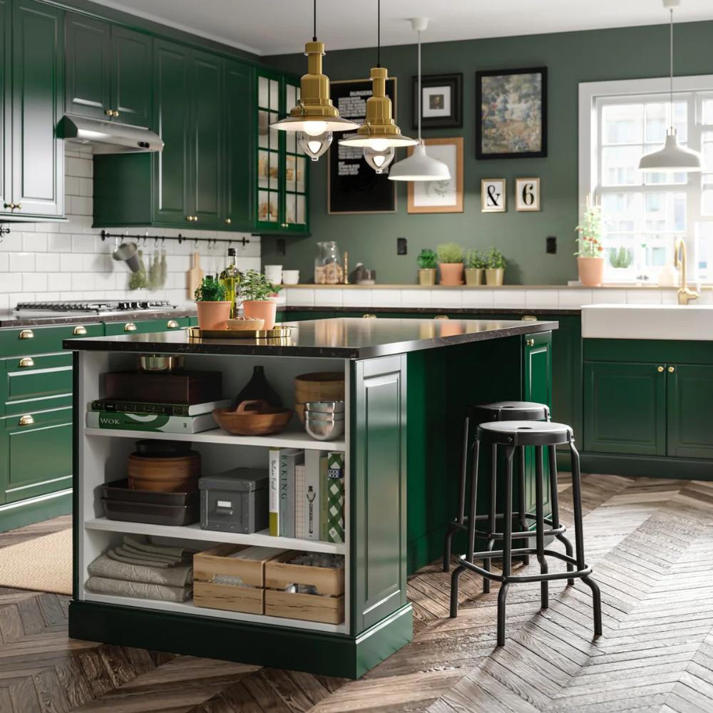 Ikea Cucine Con Isola Prezzi cucina componibile bodbyn verde | cucine rustiche, progetti