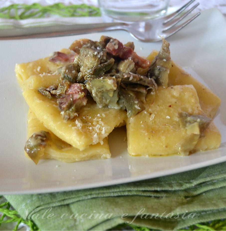 Paccheri con carciofi e pancetta ricetta primo piatto for Ricette italiane primi piatti