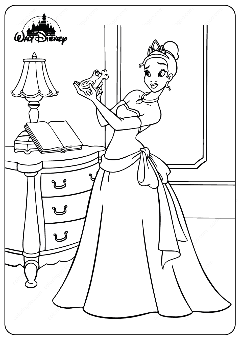 Printable Tiana and the Frog Coloring Pages in 2020