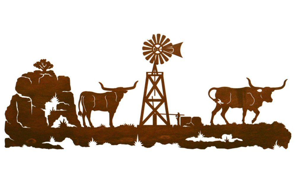 42 longhorn steers metal wall art western wall art
