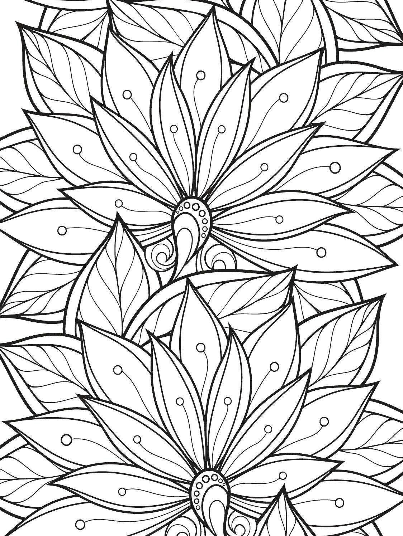 раскраска антистресс узоры большие красивые цветы