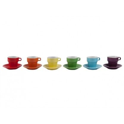 PT Ceramic Espresso Cup Tower with Stand Rainbow Colours