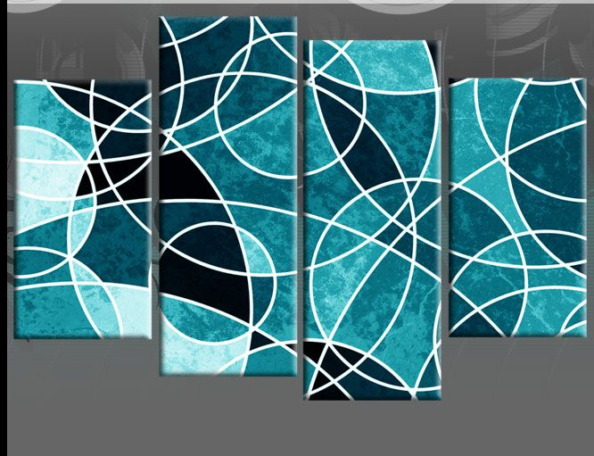 Perfect TEAL LARGE ABSTRACT CANVAS WALL ART PICTURE SPLIT 4 PIECE MULTI PANEL 100CM  Wide