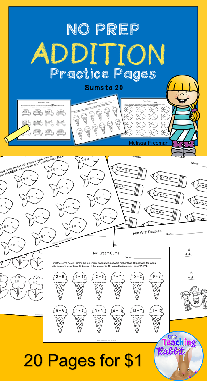These Fun Worksheets With Sums Up To 20 Are Great Practice For First Grade Addition Worksheets Addition Worksheets First Grade Fun Math Worksheets [ 1323 x 720 Pixel ]