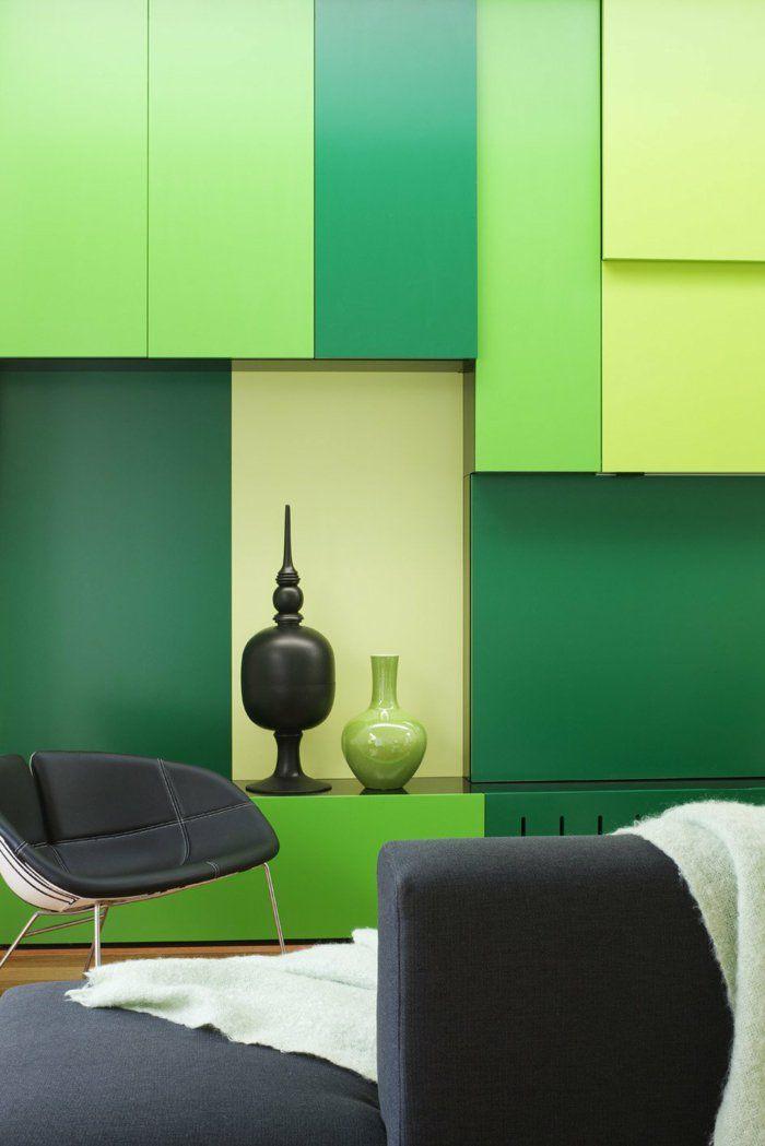 Farbgestaltung Wohnzimmer Wandgestaltung Wanddesign Grüne Elemente