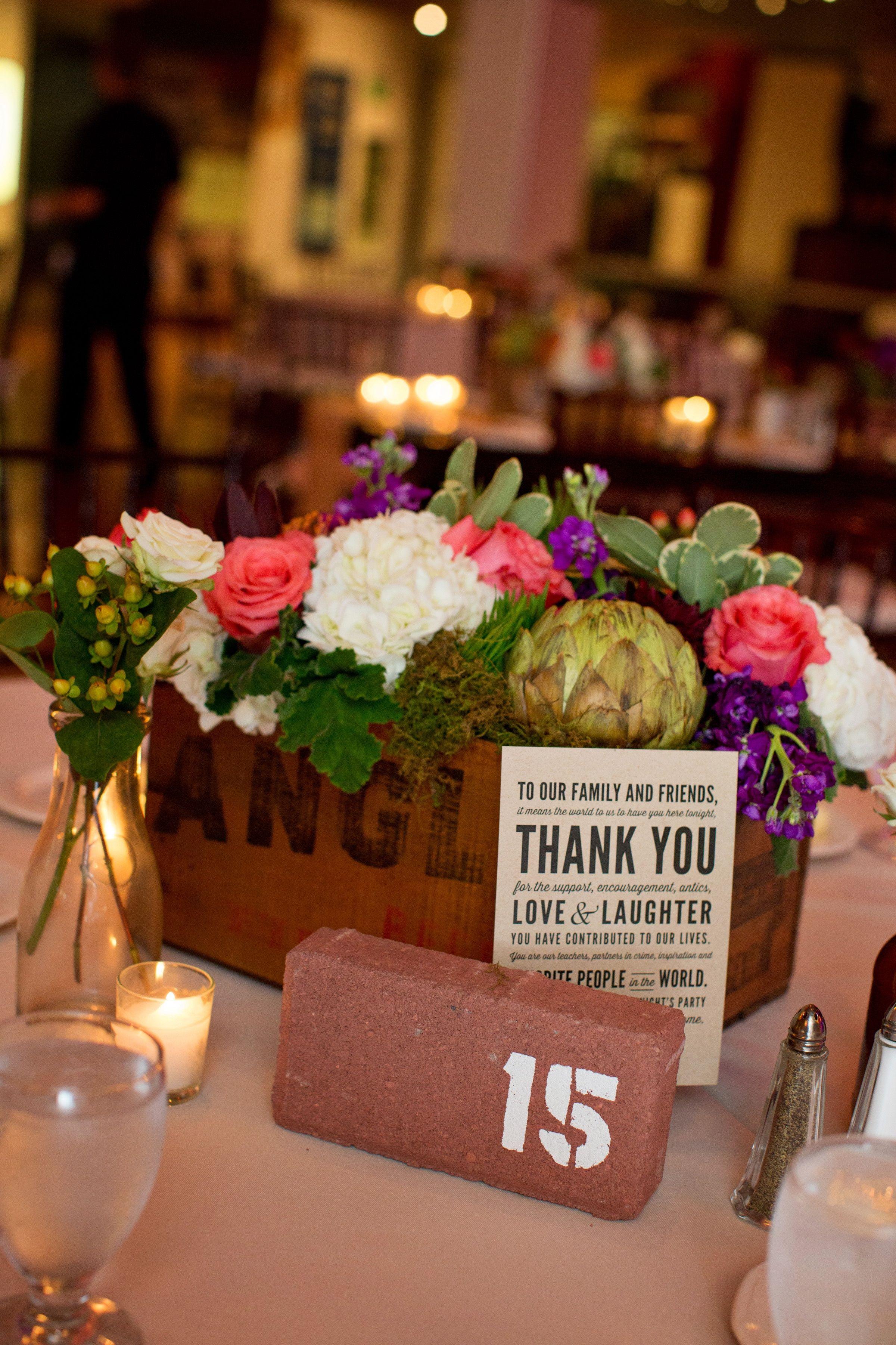 Brick Table Numbers Stackwood Studios Flourish Event Design