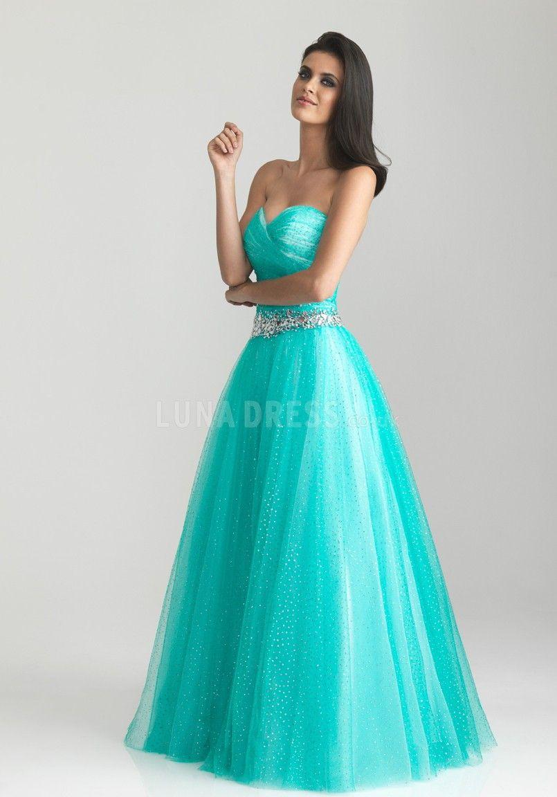 Tulle Ball Gown Sweetheart Natural Waist Sleeveless Dress For Prom #longpromdress