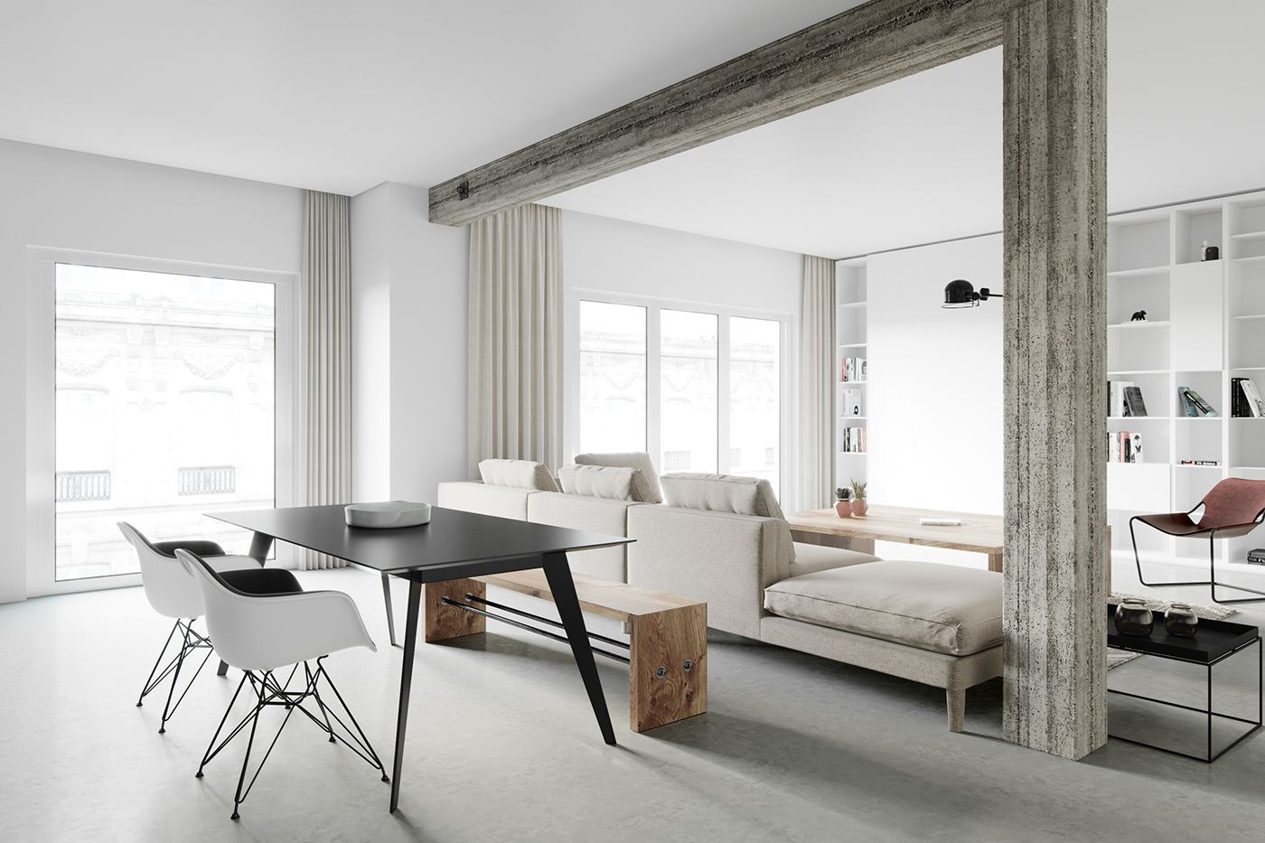 """Check out this @Behance project: """"Concrete Column Modern Apartment ..."""