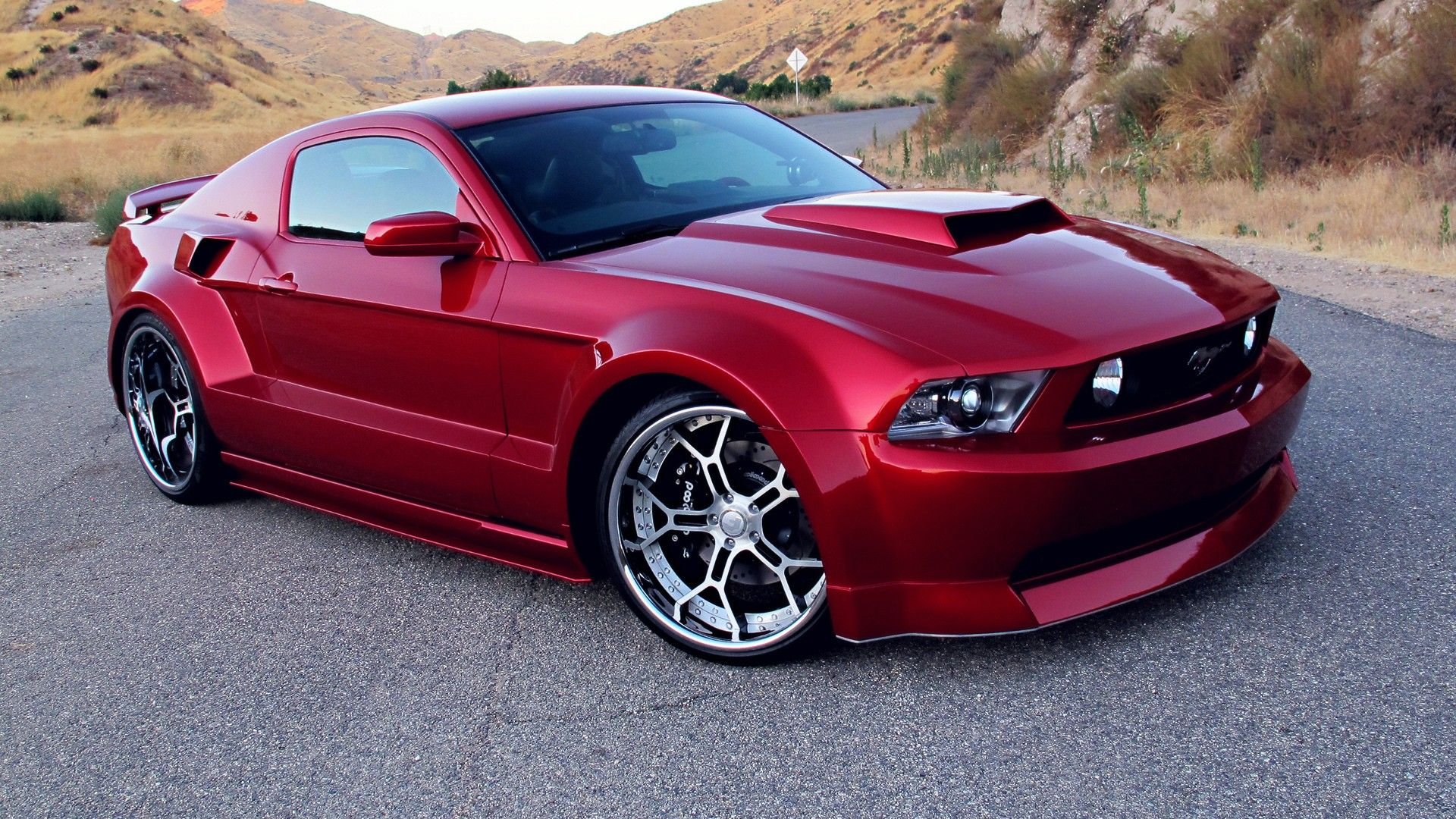 red tuning Ford Mustang wheels Ford Mustang GT Wallpaper