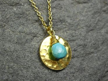Turquoise Gold Disc Pendant