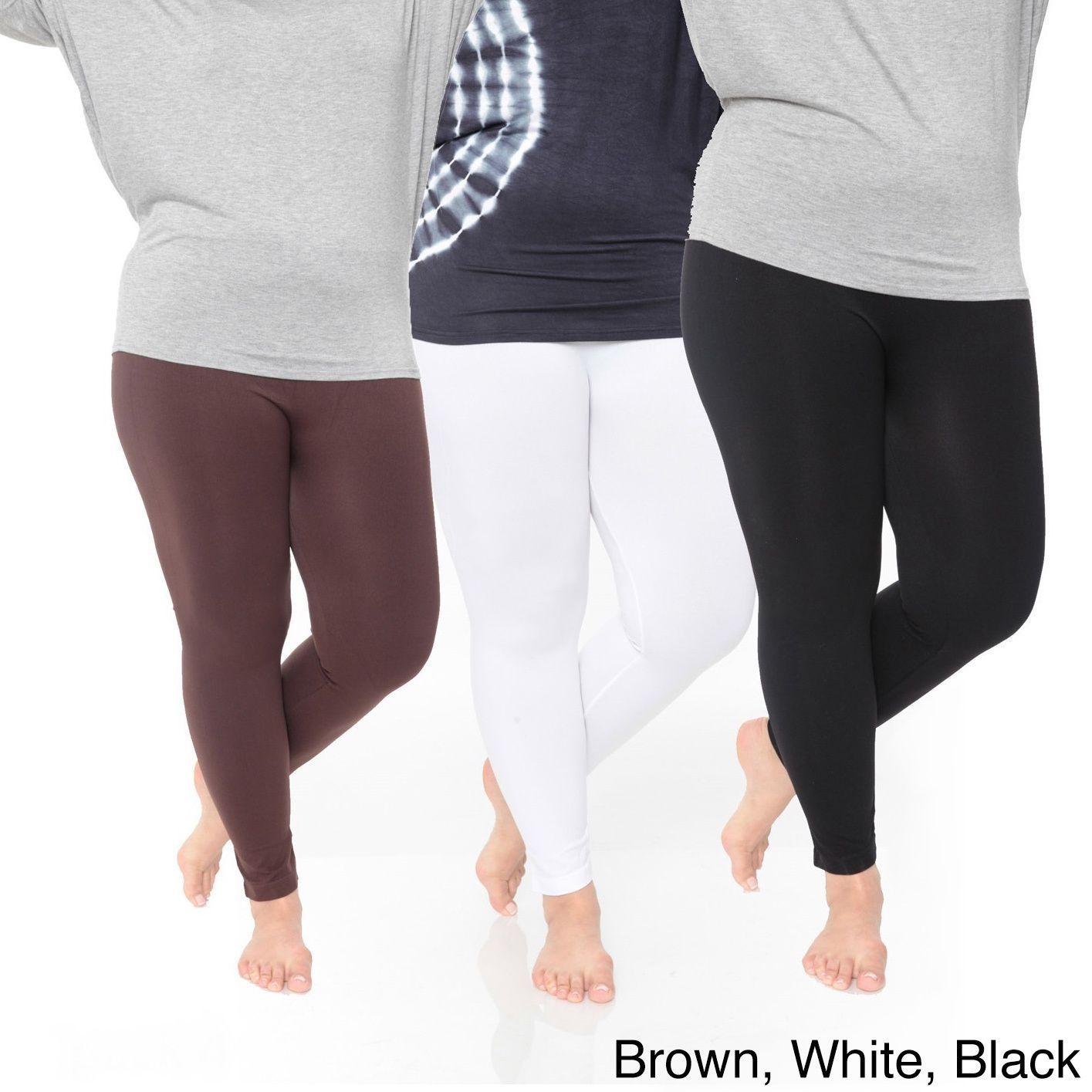dd0e166bbfa1bc White Mark Women's Plus Size Legging Pack of 3 (White/Brown/Black), Size  One Size Fits Most