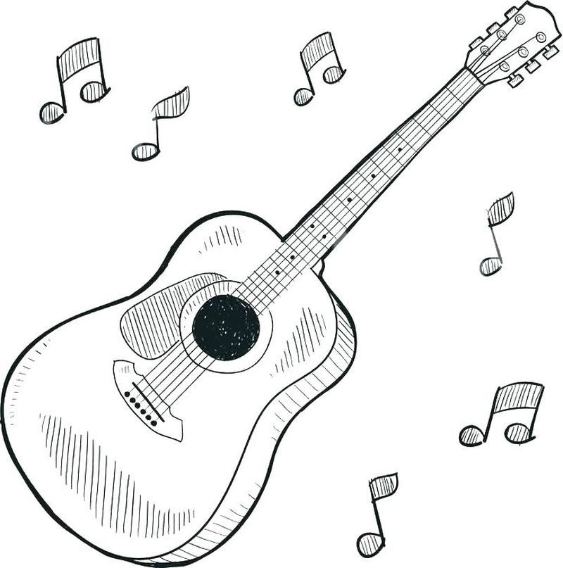 Bass Guitar Coloring Page For Acoustic Music Fans You Must Be Familiar With Stringed Or Stringed Strings On An Instr In 2020 Guitar Sketch Guitar Illustration Guitar