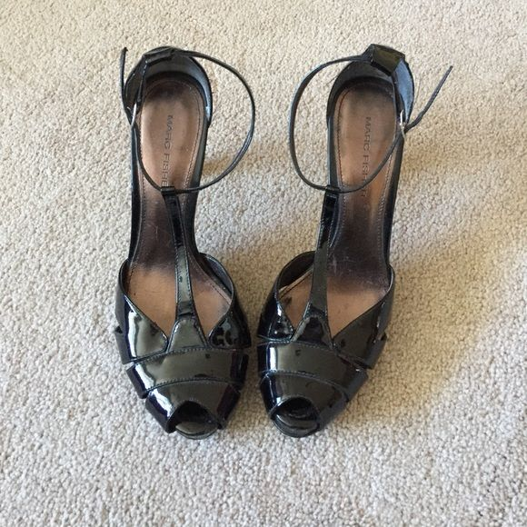 Gorgeous Marc Fisher Shoes T strap patent leather Shoes Heels