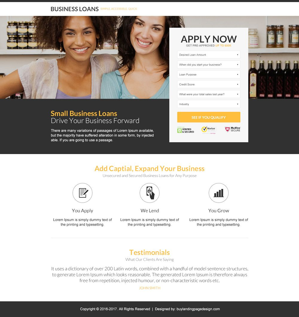 Small Business Loan Responsive Landing Page Design Smallbusiness Business Businessowner Businessman Small
