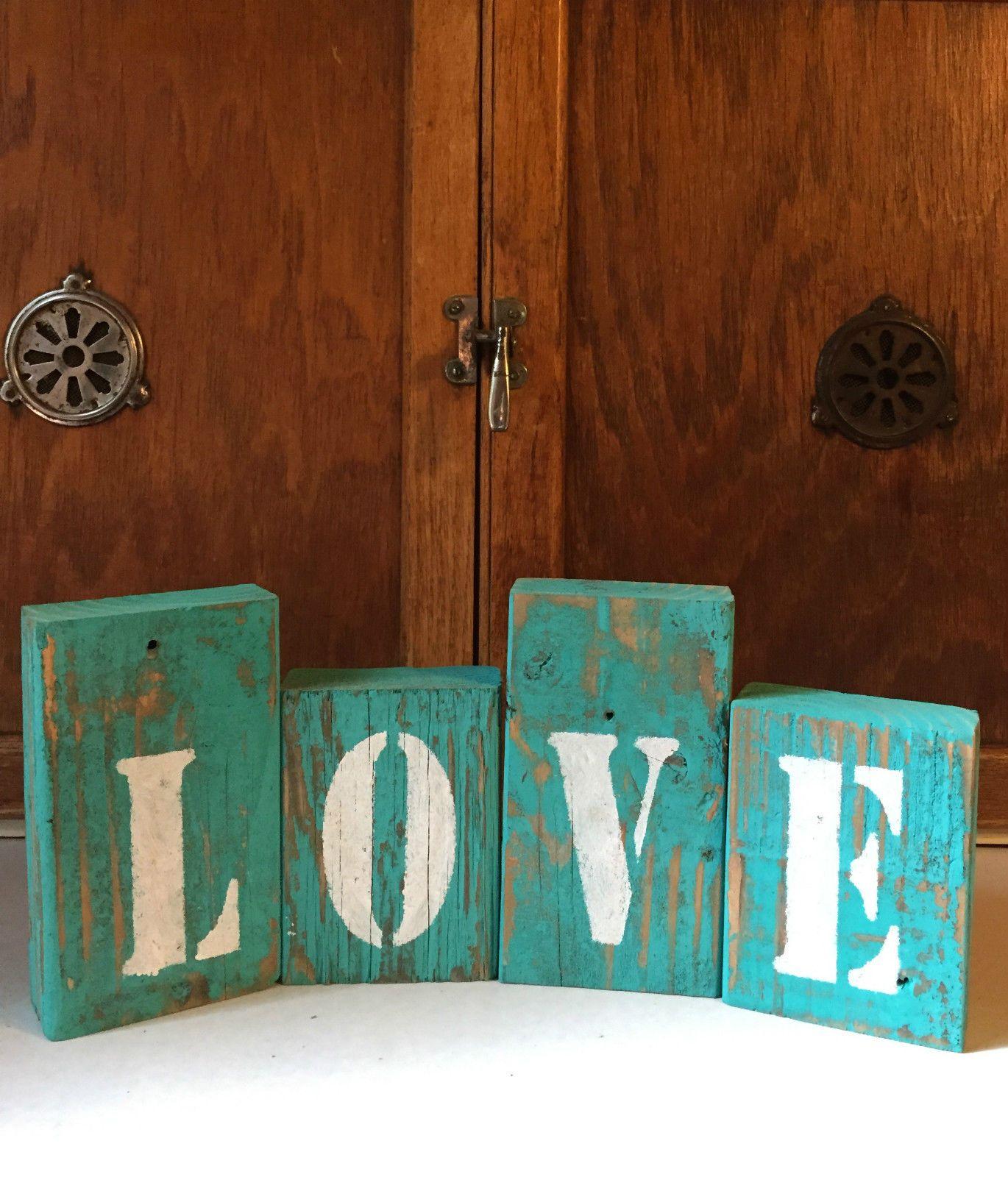 Love Sign Teal Blocks Rustic Wood Decor Shelf Sitter Country Decor