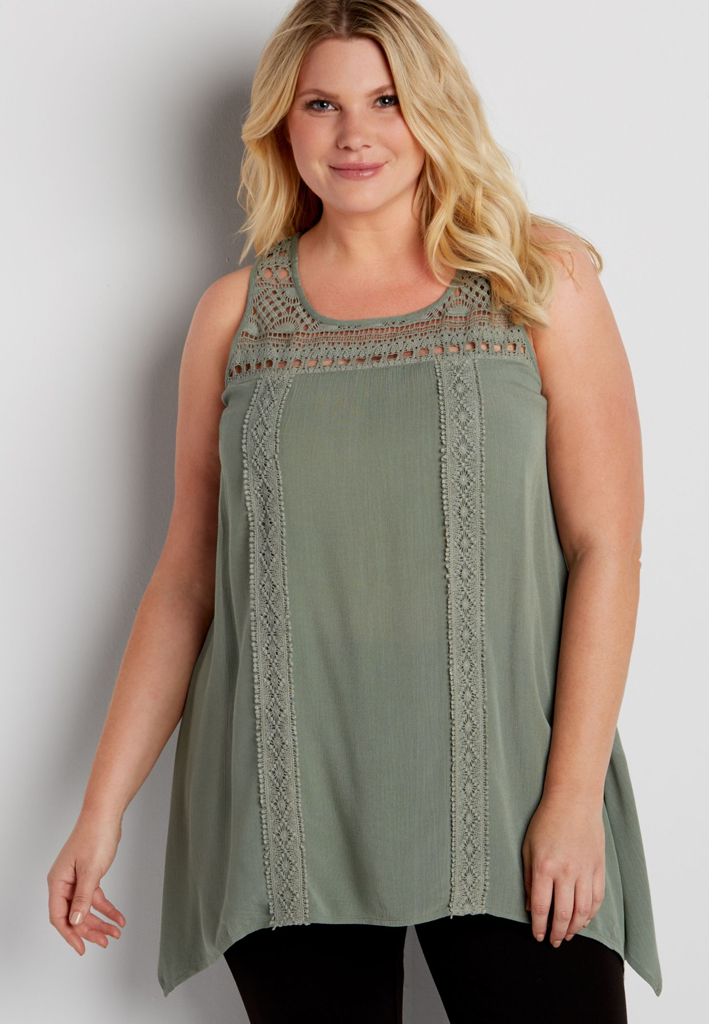 plus size tunic tank with lace original price $34 00 available at