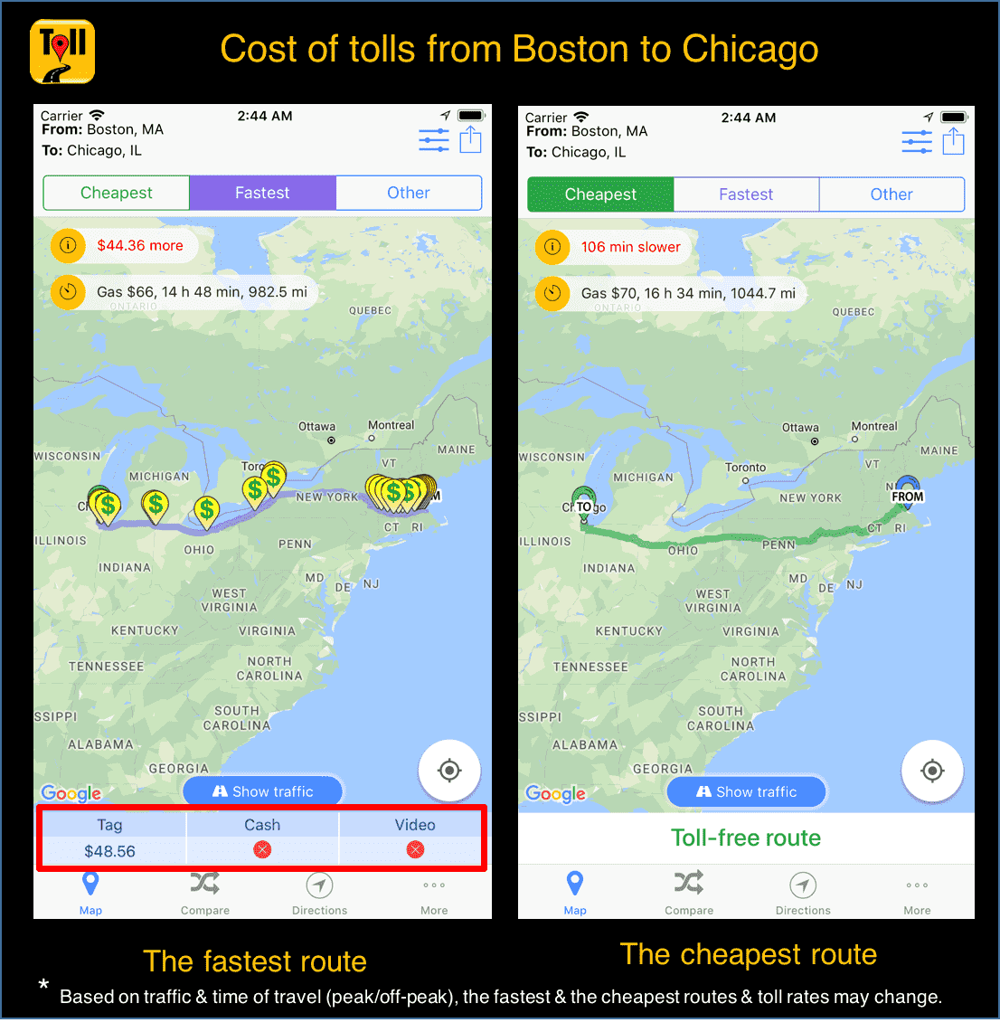 Cost of tolls from Boston to Chicago Use TollGuru toll calculator