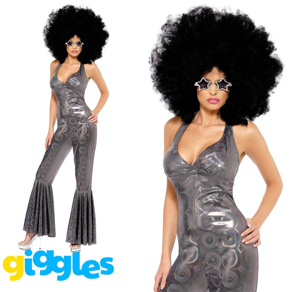 Disco Diva Costume 70s Catsuit Jumpsuit Adult Womens Ladies Fancy Dress Outfit