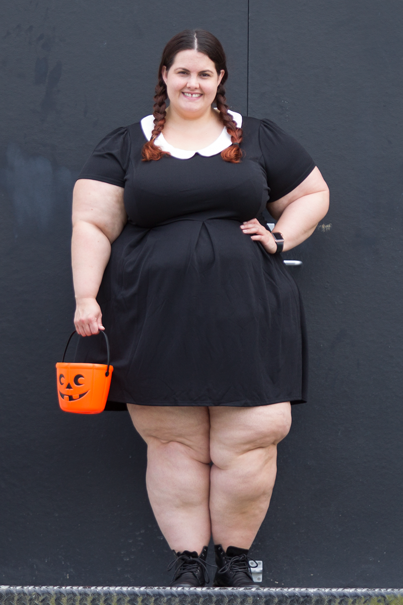 ad0df573a4d6 Plus size blogger Meagan Kerr dresses up as Wednesday Addams for Halloween