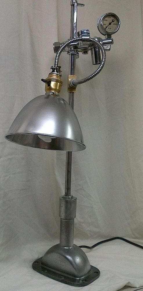Antique Industrial Table Lamp w Re purposed Chrome Gauges Steampunk