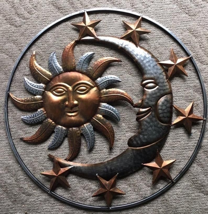 Large Sun And Moon With Stars Metal Hanging Garden Decor Stars Wall Decor Sun Wall Decor Moon Decor