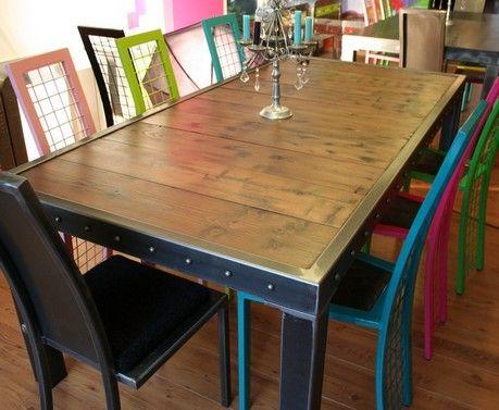 table métal bois   metals, vintage industrial furniture and