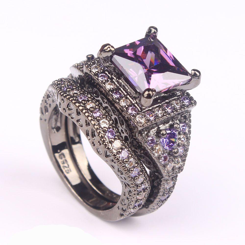 Black or Platinum Plated Ring Sets Purple CZ Rings Black